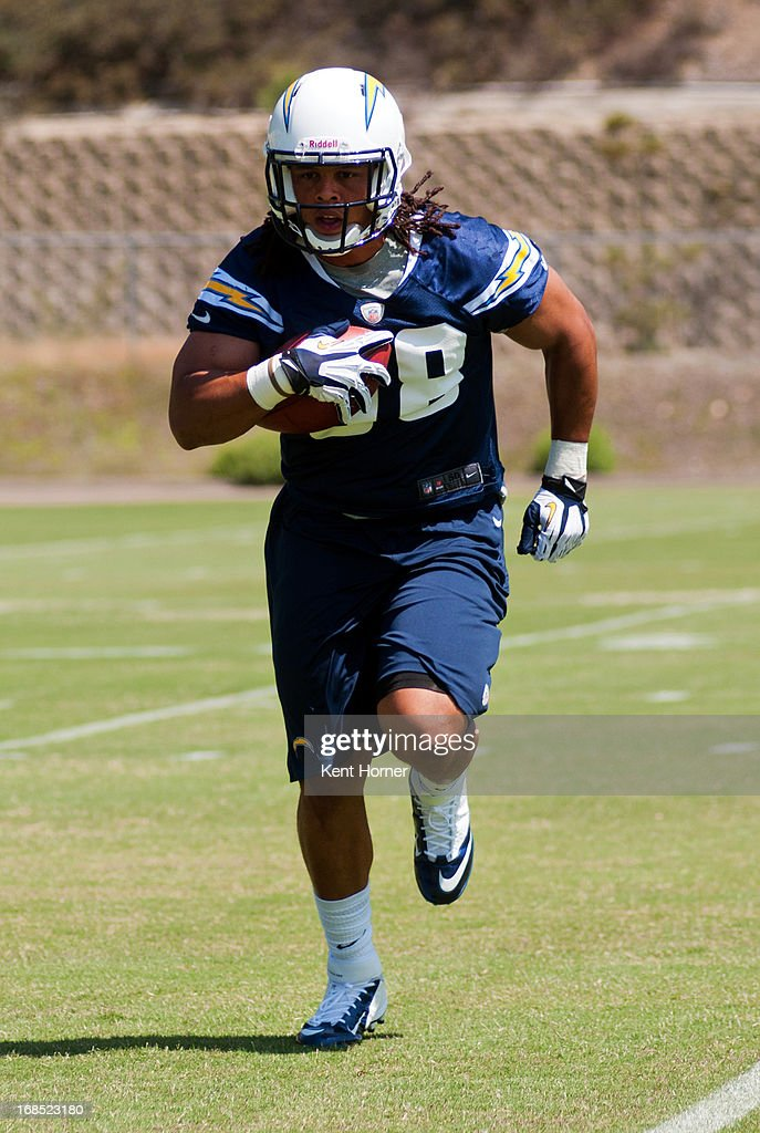 SAN DIEGO, CA - MAY 10 - Tourek Williams #58 of the San Diego Chargers runs with the ball during Rookie Camp at the teams practice facility on May 10, 2013 in San Diego, California.