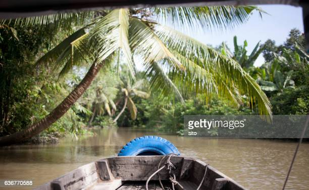 Touring around Mekong delta on a boat near Can Tho, Vietnam