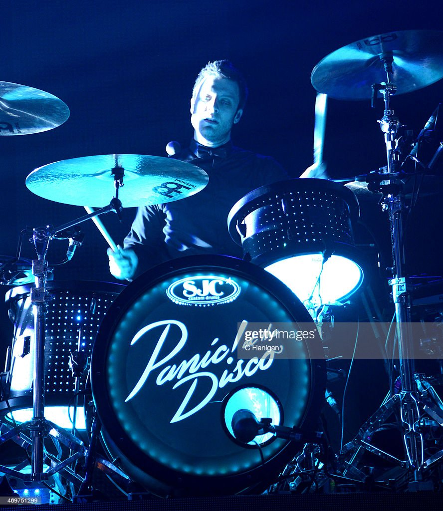 Touring Drummer Dan Pawlovich of Panic! at the Disco performs at The Fox Theatre on February 15, 2014 in Oakland, California.