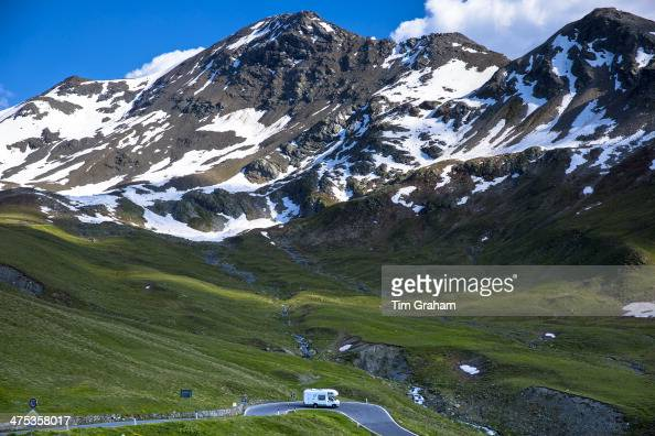 Touring RV motorhome on The Stelvio Pass Passo dello Stelvio Stilfser Joch on route to Bormio in the Alps in Northern Italy