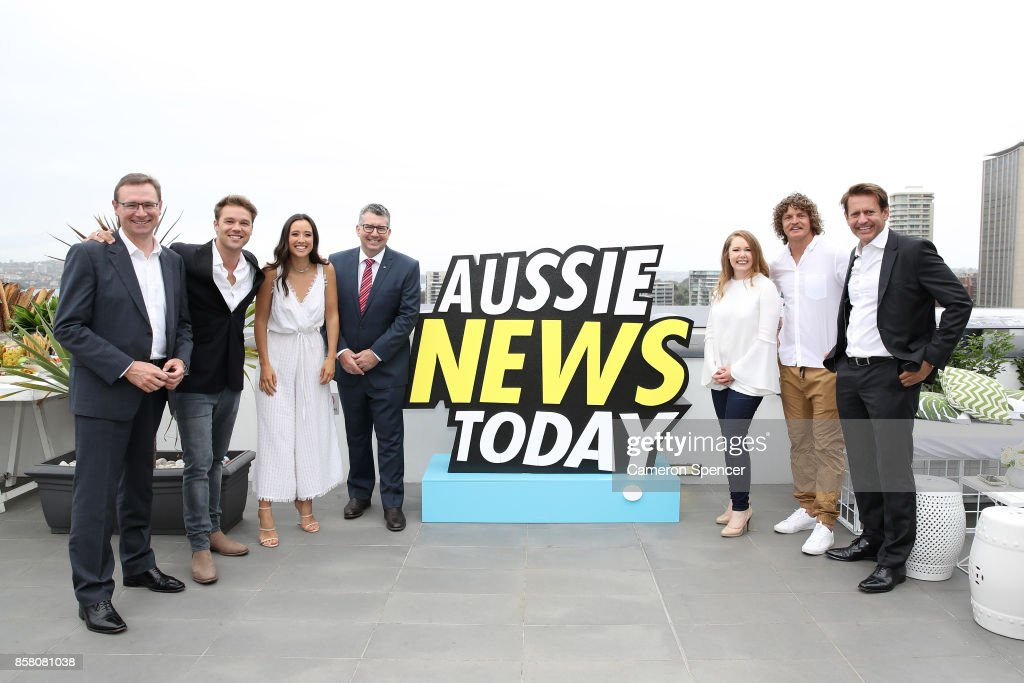 Tourism Australia Managing Director John O'Sullivan, Lincoln Lewis, Teigan Nash, Assistant Minster of Trade, Tourism and Investment Hon Keith Pitt, Chief Marketing Officer of Tourism Australia Lisa Ronson, Nick (The Honey Badger) Cummins and Tourism Australia Chairman Bob East attend the launch of Aussie News Today, as part of Tourism Australia's new youth campaign on October 6, 2017 in Sydney, Australia.