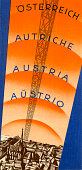 A tourism brochure for Austria reads 'Osterreich Austriche Austria Austrio' from 1934 in Austria