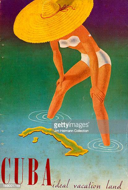 A tourism brochure for Cuba reads 'Cuba Ideal Vacation Land' from 1951 in Cuba