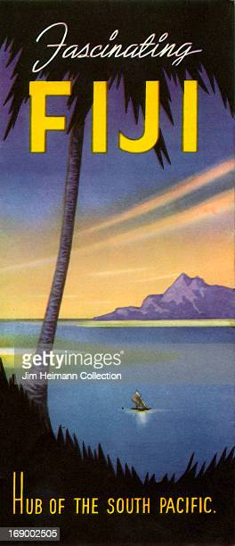 A tourism brochure for Fiji reads 'Fascinating Fiji Hub of the South Pacific' from 1947 in Fiji