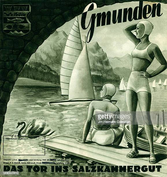 A tourism brochure for Gmunden reads 'Gmunden Das Tor Ins Salzkammergut' from 1946 in Austria