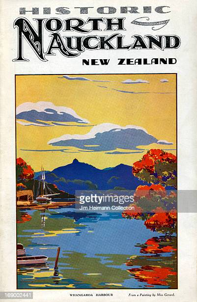 A tourism brochure for North Auckland by Miss Gerard reads 'Historic North Auckland New Zealand Whangaroa Harbour' from 1936 in New Zealand