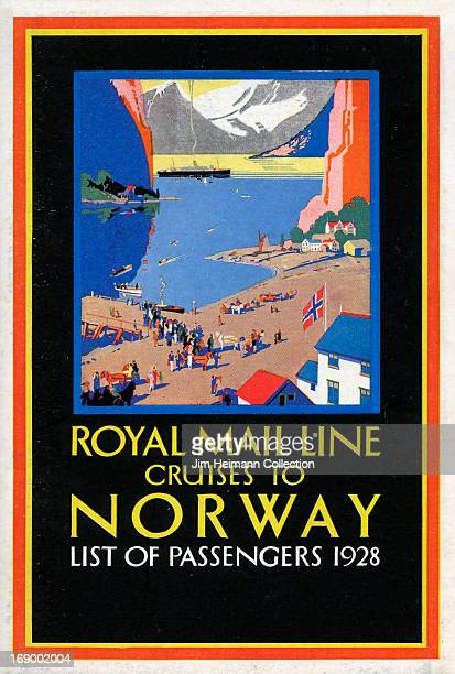 A tourism brochure for Norway by Royal Mail Line that reads 'Royal Mail Line Cruises to Norway List of Passengers 1928' from 1928 in Norway
