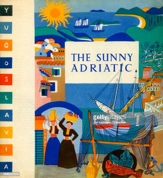 A tourism brochure for the Adriatic reads 'The Sunny Adriatic Yugoslavia' from 1954 in Yugoslavia