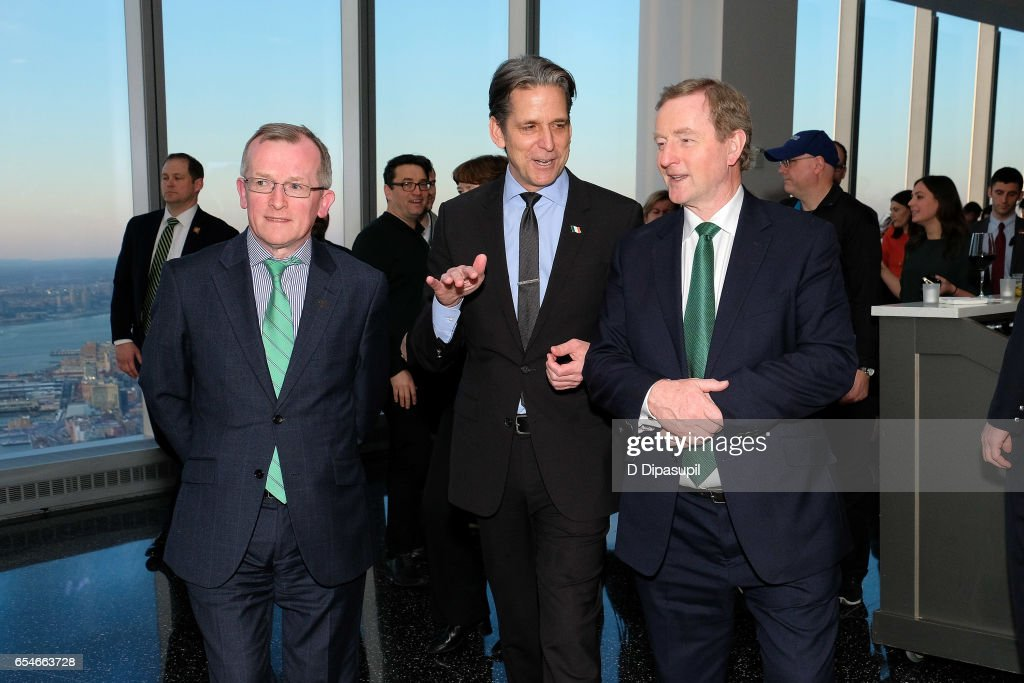 Tourism Ireland CEO Niall Gibbons, Legends General Manager and Vice President John Urban, and Irish Prime Minister Enda Kenny attend as Tourism Ireland marks its St. Patrick's Day Global Greening Initiative at One World Observatory on March 17, 2017 in New York City.