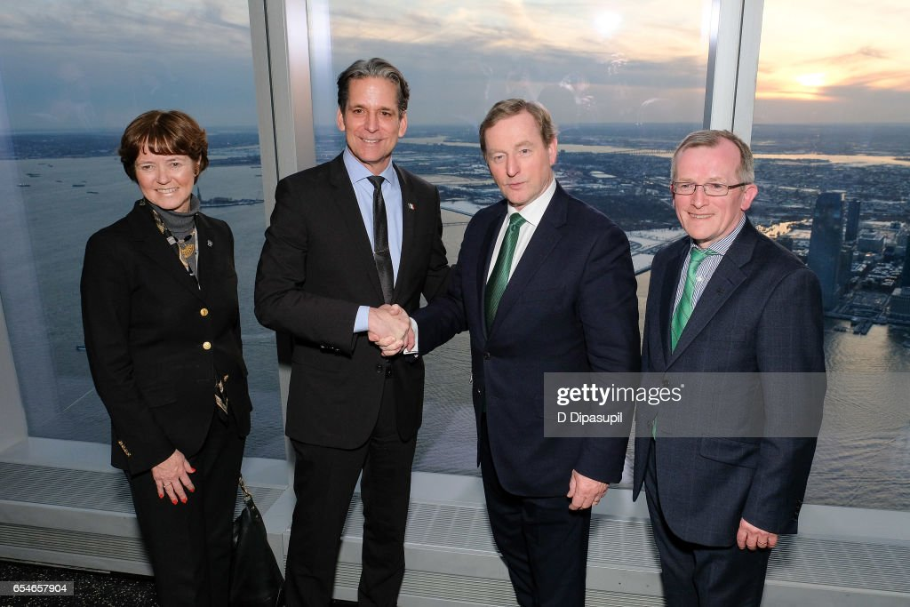 Tourism Ireland Executive Vice President Alison Metcalfe, Legends General Manager and Vice President John Urban,? Irish Prime Minister Enda Kenny, and Tourism Ireland CEO Niall Gibbons attend as Tourism Ireland marks its St. Patrick's Day Global Greening Initiative at One World Observatory on March 17, 2017 in New York City.