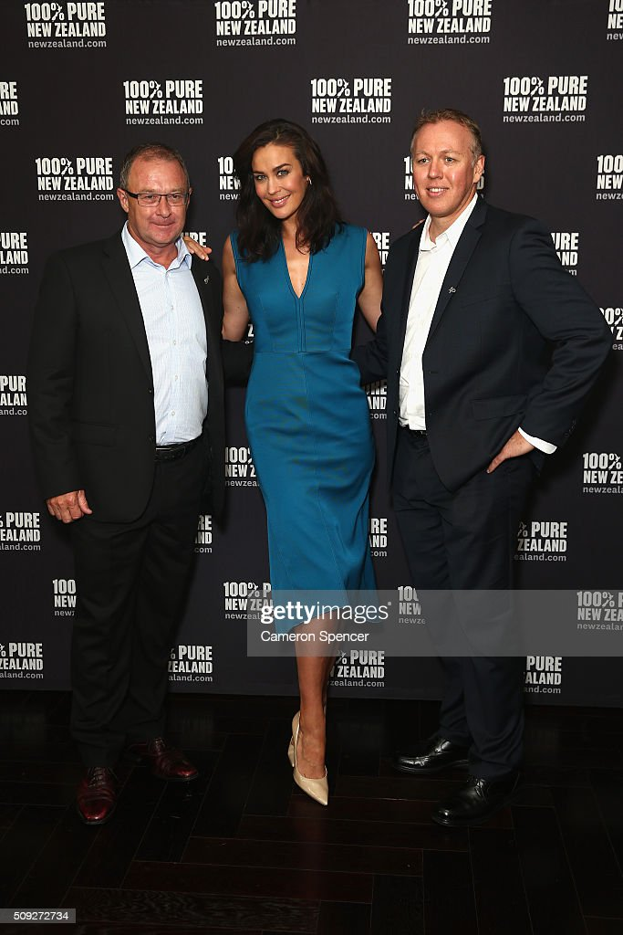 Tourism New Zealand CEO Kevin Bowler, New Zealand tourism ambassador <a gi-track='captionPersonalityLinkClicked' href=/galleries/search?phrase=Megan+Gale&family=editorial&specificpeople=202042 ng-click='$event.stopPropagation()'>Megan Gale</a>, and Tourism New Zealand general manager; Australia, Tony Saunders pose during a New Zealand Tourism press conference at Four Seasons Hotel on February 10, 2016 in Sydney, Australia.