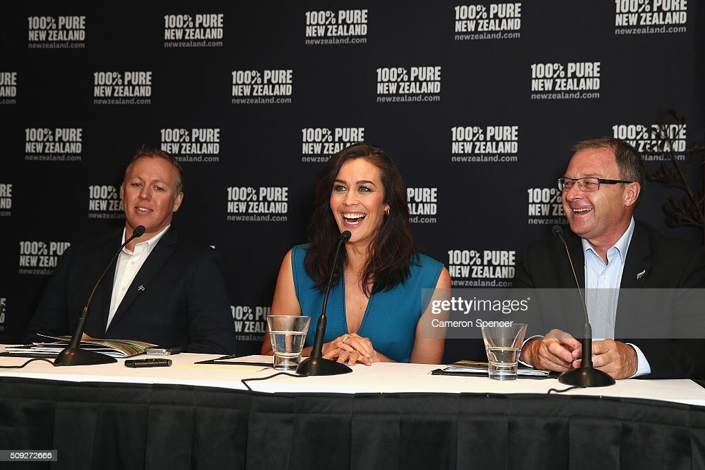 Tourism New Zealand general manager; Australia, Tony Saunders, New Zealand tourism ambassador <a gi-track='captionPersonalityLinkClicked' href=/galleries/search?phrase=Megan+Gale&family=editorial&specificpeople=202042 ng-click='$event.stopPropagation()'>Megan Gale</a>, and Tourism NZ CEO Kevin Bowler field questions during a New Zealand Tourism press conference at Four Seasons Hotel on February 10, 2016 in Sydney, Australia.