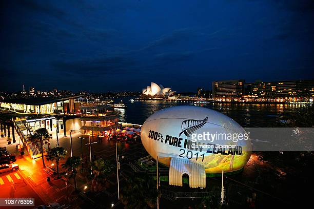 Tourism New Zealand's Giant Rugby Ball is seen in it's new location at Circular Quay to promote the Rugby World Cup 2011 and New Zealand as a tourism...