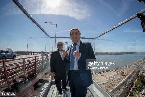 Tourism of Lisbon Deputy Director Jorge Ponce de Leao and directorgeneral of Lisbon Tourism Association Vtor Costa stand at the viewpoint 80 meters...