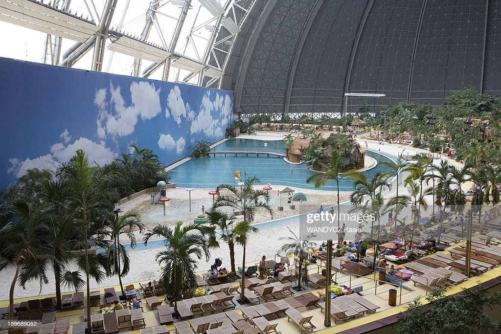 WASSERBURG, BRANDBOURG, GERMANY - JANUARY 12: Tourism, The water park Tropical Island Resort at 60 km from Berlin housed in a huge disused warehouse, the Aerium, which was designed to house an airship, the park has been open since December 2004.