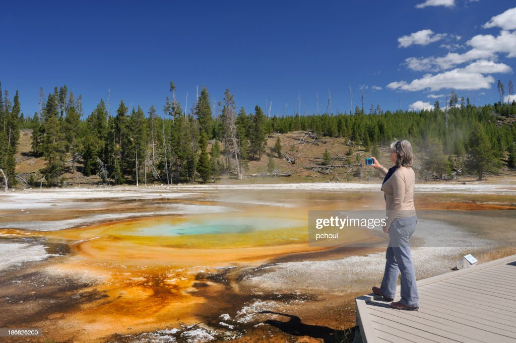 'Tourist and Chromatic Pool, Yellowstone'