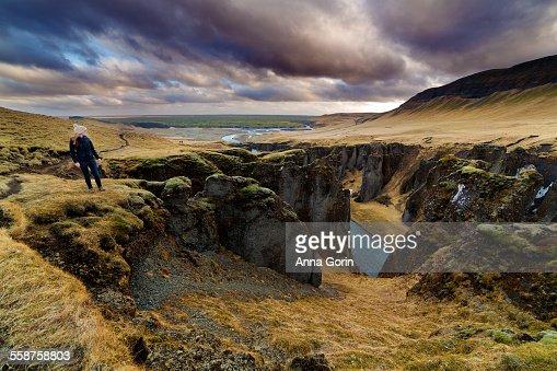 Tourist at Fjadrargljufur canyon, Iceland