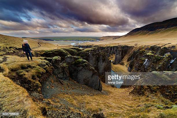 Tourist at Fjadrargljufur canyon, Iceland
