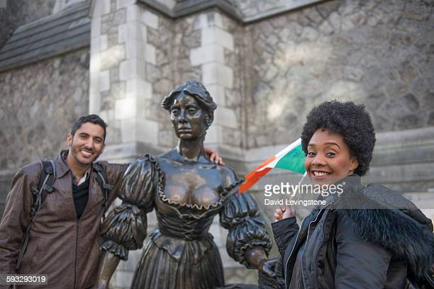 Tourist at the Molly Malone Statue, Dublin
