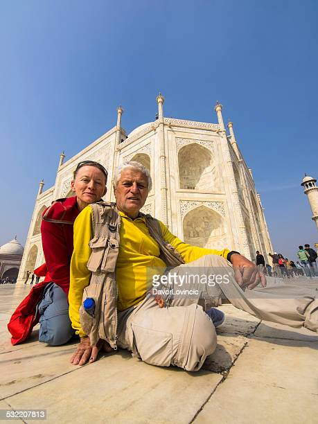 Tourist at  the Taj Mahal