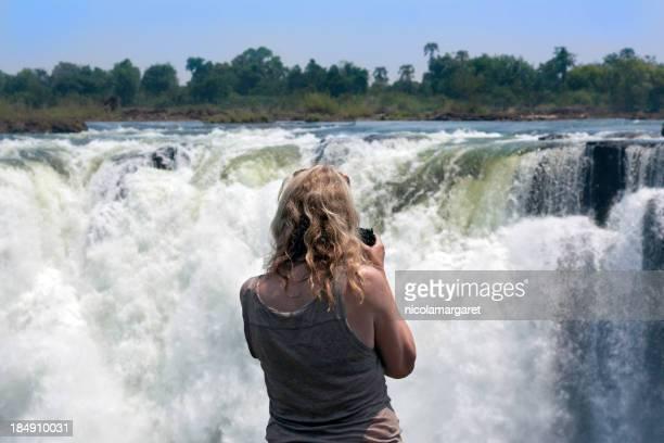 Tourist at Victoria Falls