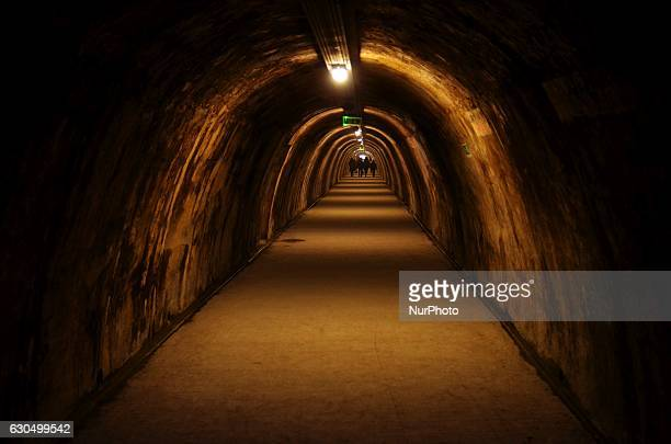 Tourist attraction Tunnel Gric on Christmas Eve in Zagreb Croatia on 24 Dec 2016