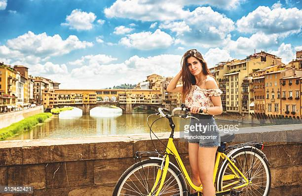 tourist biking in Florence