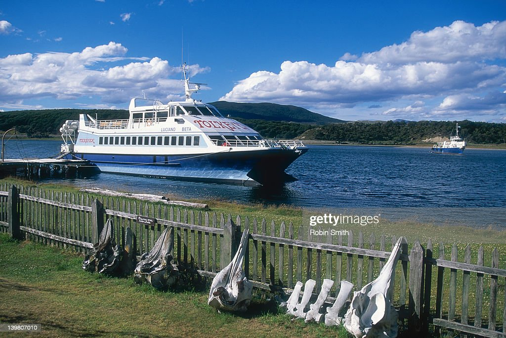 Tourist boat at wharf, Beagle Channel, Tierra del Fuego, Argentina : Stock Photo