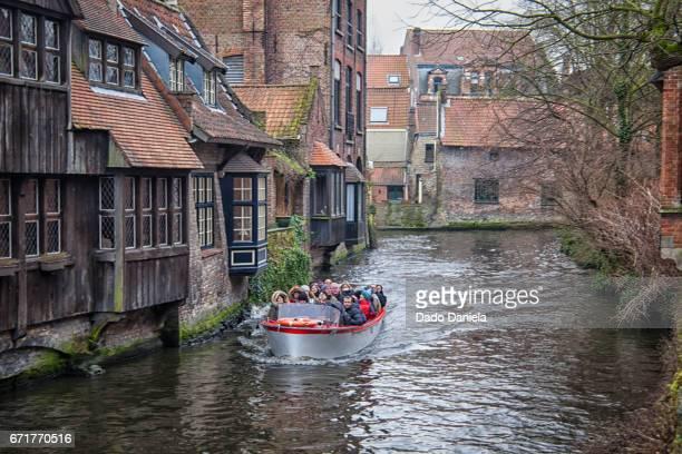 Tourist boat in Bruges