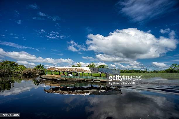 Tourist boat reflection