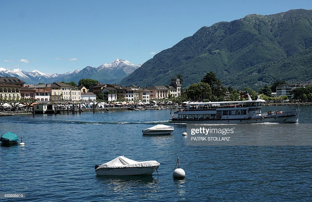 A tourist boat sails from the town of Ascona on Lago Maggiore also called Lake Langen on May 24, 2016. The German national football team will train here from May 24 until June 3, 2016 for the EURO 2016 taking place in France. / AFP / PATRIK