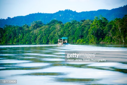 Tourist boat travels up Kinabatangan river