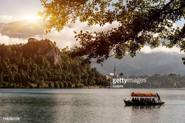 Tourist boat trip to Bled Island, Lake Bled, Slovenia