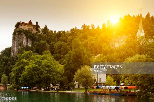 Tourist boats on Lake Bled waterfront below castle, Slovenia