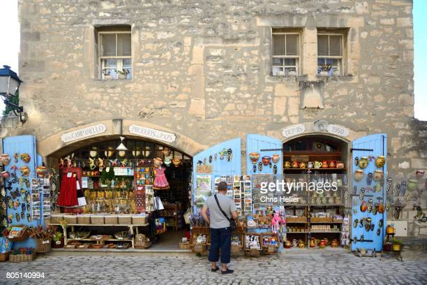 Tourist Browsing in a Souvenir Shop or Gift Shop in Les-Baux-de-Provence Provence