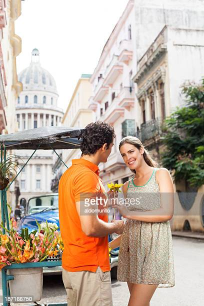 Touristen Einkaufen Blumen