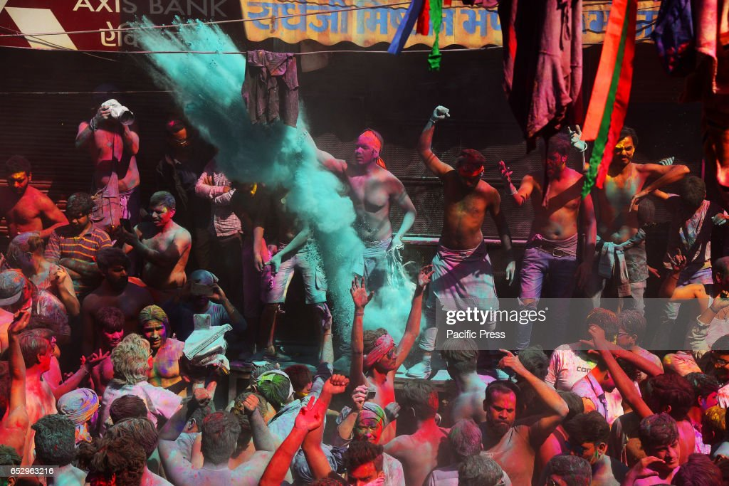 Tourist celebrate the Holi cloth tearing (Kapda Phad), the...