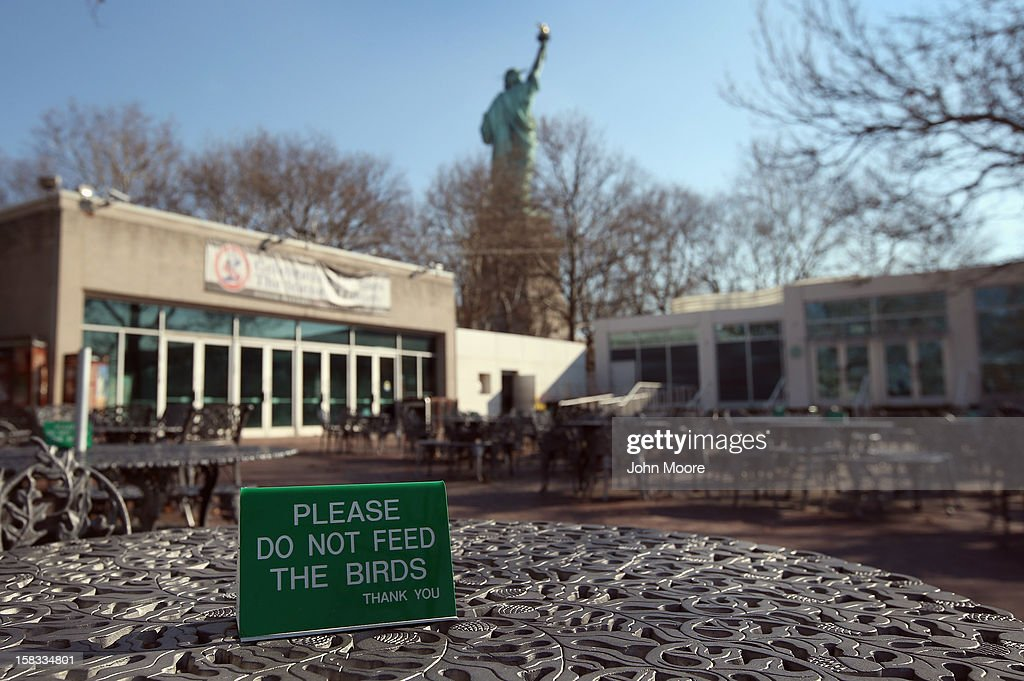 A tourist center sits empty at the Statue of Liberty which remains closed to the public 6 weeks after Hurricane Sandy on December 13, 2012 in New York City. The storm caused extensive damage to National Park Service facilities on Liberty Island, although the statue itself remained unscathed. U.S. Secretary of the Interior Ken Salazar toured the island Thursday while visiting the area to see damage caused by the storm.
