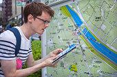 Tourist checks map