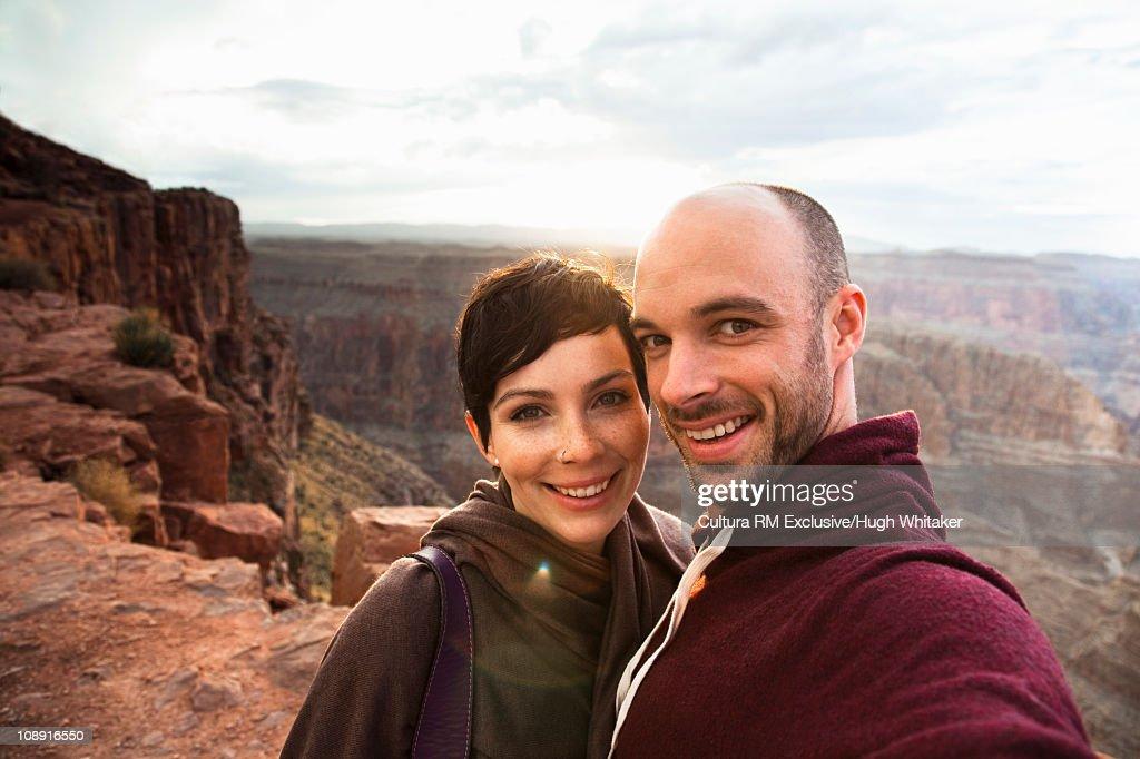 Tourist couple at Grand Canyon : Stock Photo
