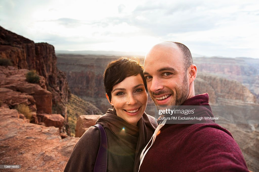 Tourist couple at Grand Canyon