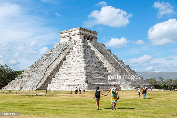 Tourist couple, El Castillo temple, Chichen Itza