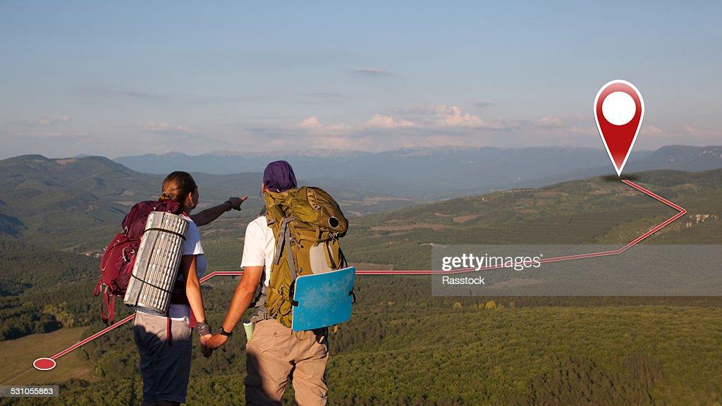 Tourist couple of searchers