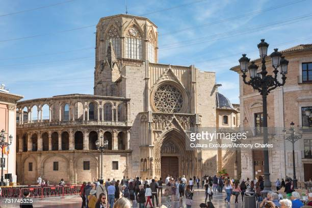 Tourist crowds at Valencia Cathedral, Valencia, Spain