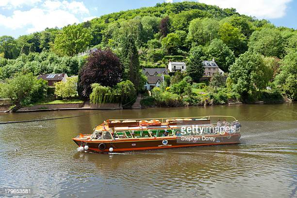 A tourist cruise boat on River Wye, Symonds Yat UK