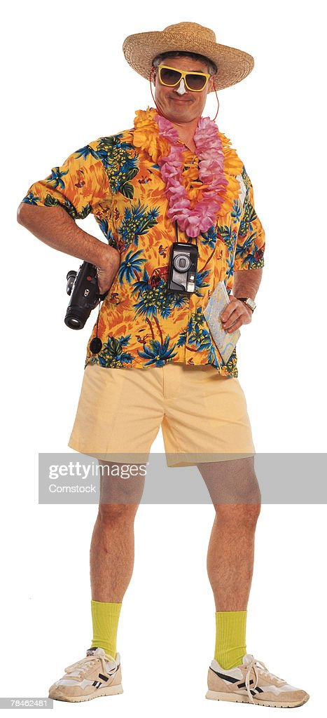 Tourist dressed in Hawaiian shirt