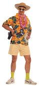 Tourist dressed in Hawaiian shirt