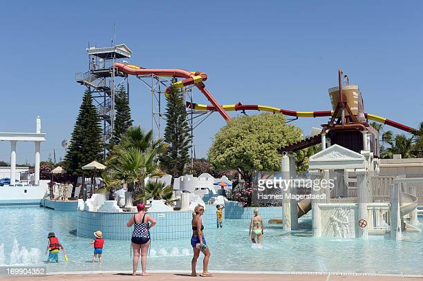 A tourist enjoy the Waterworld in Ayia Napa on May 25 2013 in Ayia Napya Cyprus Waterworld themed waterpark is Europe's largest themed waterparkÊ