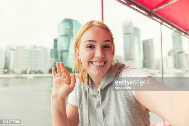 Tourist girl in Brisbane