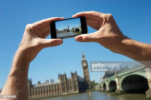 Tourist Hands Holding Camera Phone Taking Photo Big Ben London